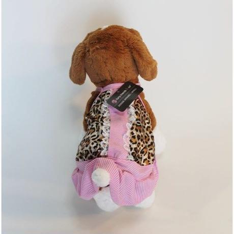 ドッグウエア★小型犬★ヒョウガラ&ピンクストライプワンピース