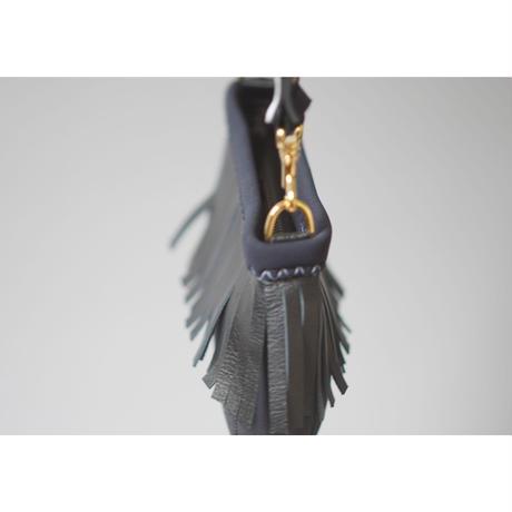 "LozzSandra/Mini ""Leather fringe"" shoulder bag【Black×White/Black Leather】"