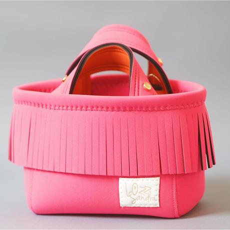 [受注販売]Lozz Sandra Fringe Mini Tote Bag / Neon pink × Orange