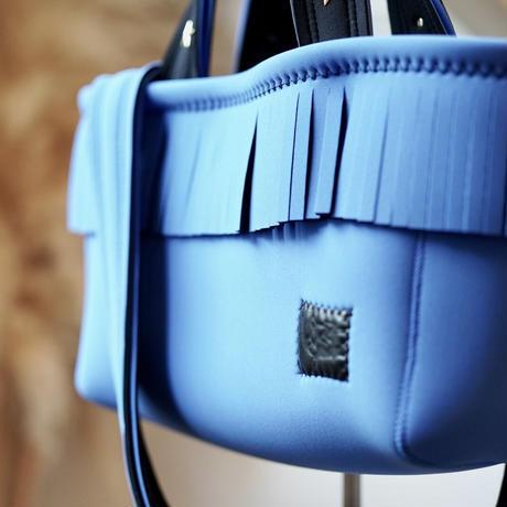 LozzSandra/fringe tote bag(ブルー)