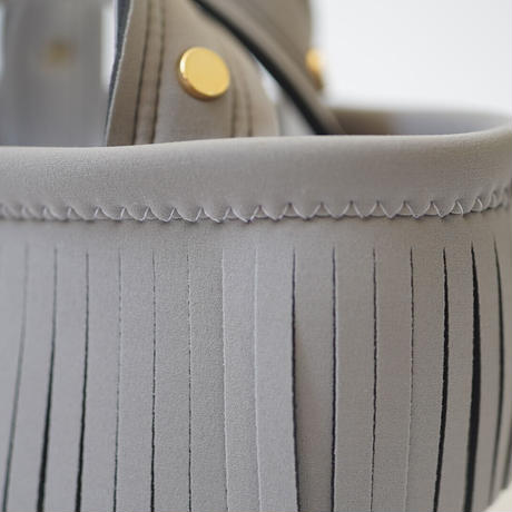 Lozz Sandra Fringe Mini Tote Bag / Gray × White