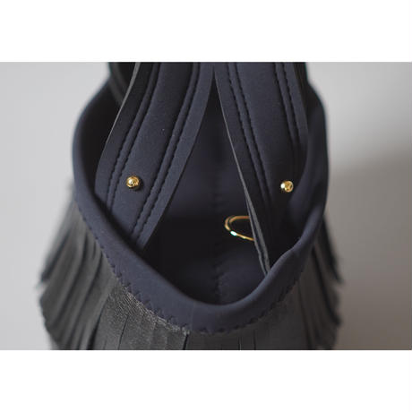 "LozzSandra/""Leather fringe"" MINI tote bag 【Stitch color: Black】"