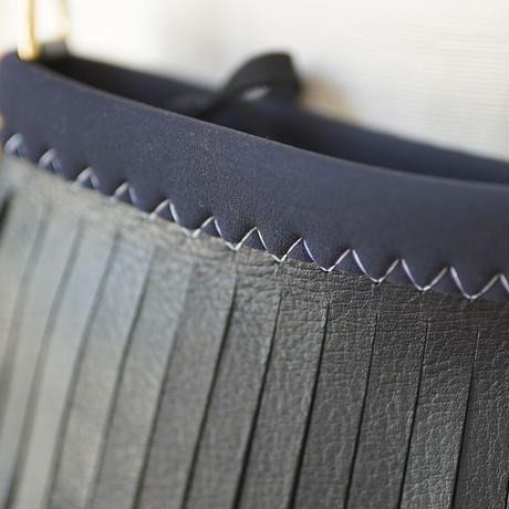 "Lozz Sandra Mini ""Leather"" Fringe Shoulder Bag / Black × White"