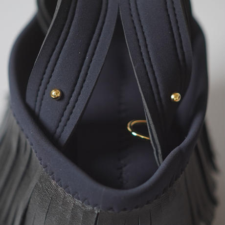 "LozzSandra/""Leather fringe"" MINI tote bag 【Stitch color: Black】"