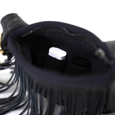 Lozz Sandra Leather Fringe  Wallet Bag / Black leather