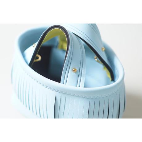 Lozz Sandra Fringe Mini Tote Bag / Ice blue × Yellow
