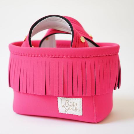 Lozz Sandra Fringe Mini Tote Bag / Neon pink × White