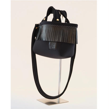 """LozzSandra/""""Leather fringe"""" MINI tote bag 【Stitch color: White】"""