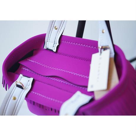Lozz Sandra Fringe Tote Bag / Rouge pink × White