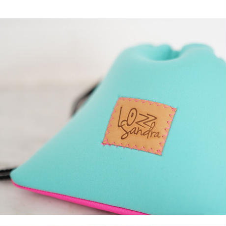 LozzSandra/bi-colorポーチ(ミント×ピンクレザー)