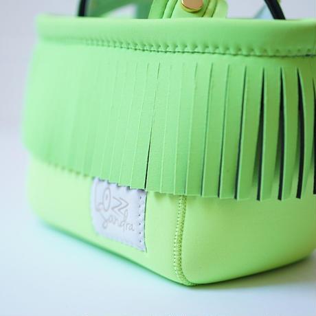 Lozz Sandra Fringe Mini Tote Bag / Neon green × White