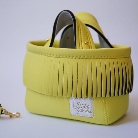 Lozz Sandra Fringe Mini Tote Bag / Yellow × White