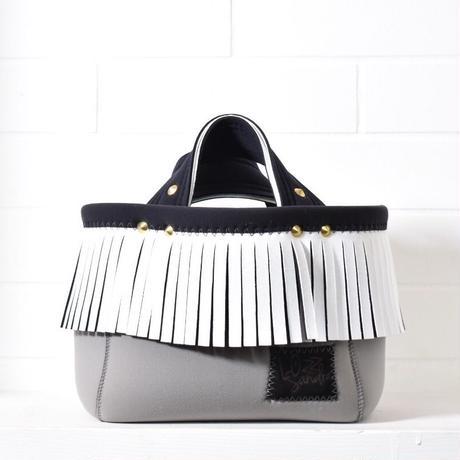 Lozz Sandra/fringe mini tote bag/white fringe(gold)
