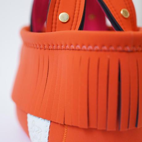 Lozz Sandra Fringe Mini Tote Bag / Orange × Neon pink