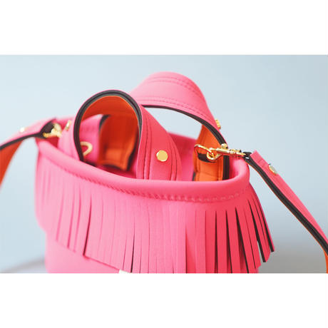 Lozz Sandra Fringe Mini Tote Bag / Neon pink × Orange