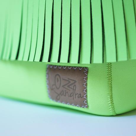 Lozz Sandra Fringe Mini Tote Bag / Neon green