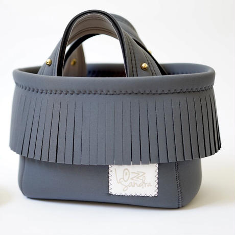 Lozz Sandra Fringe Mini Tote Bag / Charcoal gray × Gray