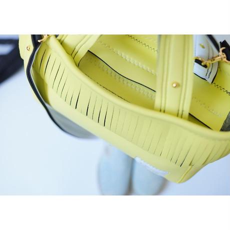 Lozz Sandra Fringe Tote Bag / Yellow × White