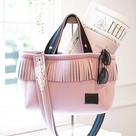 LozzSandra/fringe tote bag「lace」(ベビーピンク)