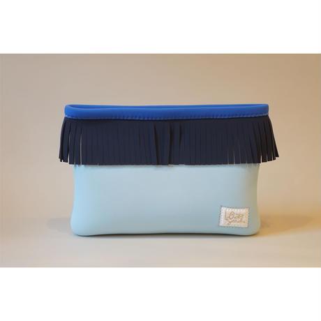 [受注販売]Lozz Sandra Fringe Clutch Bag / Ice blue × Slate