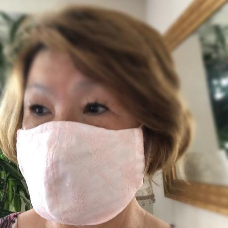 竹布ガーゼ使用 ※大きめサイズ サーモンピンクレース立体アイスマスク(紐を太めに改良しております) 保冷剤20g✖️2個※送料は別カートにお入れ下さい