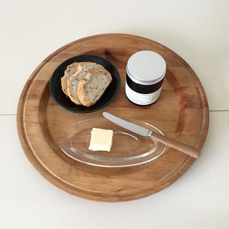 round wooden plate