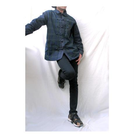 Rhythmor〔リズモア〕ブラックウォッチ柄チャイナシャツ