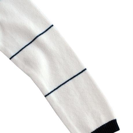 Rhytmor(リズモア)袖ボーダーケーブルニット WHITE