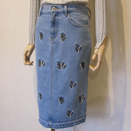 Andcurtaincall 刺繍denim skirt