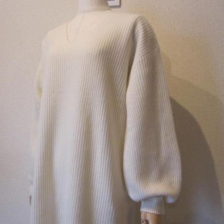 Unaca  rib  knit one-piece  white