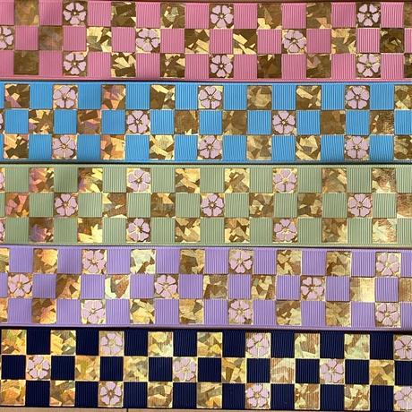 B 38mm格子和柄ゴールドx無地グログランリボンセット 桜カラー 10種x2m@20mセット