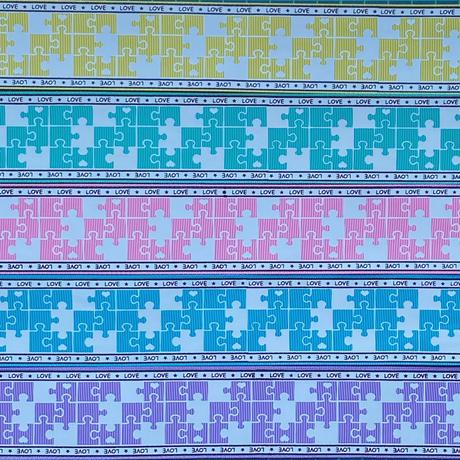 B サイドロゴxパズル柄グログランリボンセット 5種x2m@10mセット