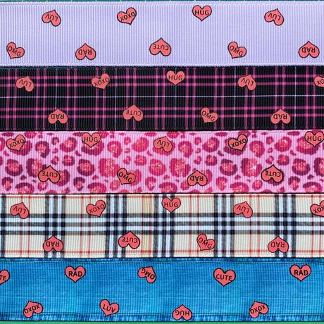 Dピンクキャンディハーツグログランリボンセット 5種x1m@5mセット