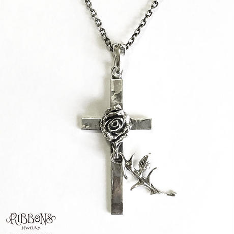 Single Rose Cross Pendant