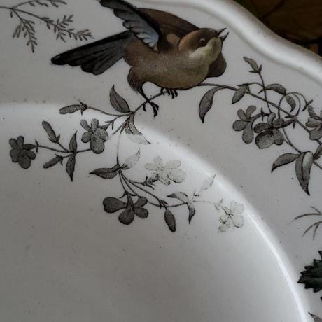 小鳥とお花の花リムコンポティエ/ケーキスタンド