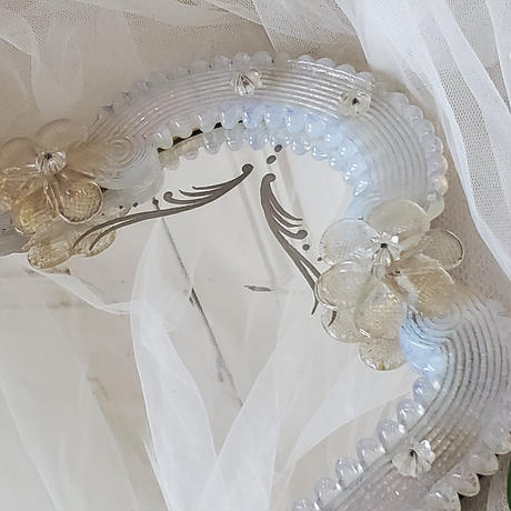 スタンド型ムラノガラスミラー/オパールセントガラス