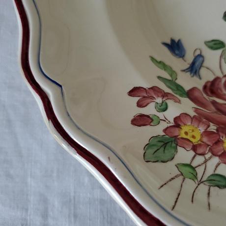 Longchamp手描きの花リムプレート