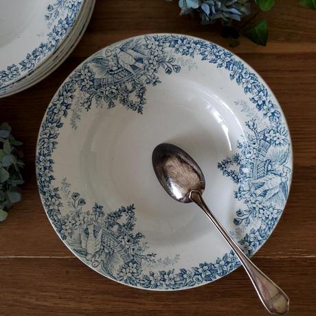 真っ白い鳩とお花のガーランドのスーププレート#3