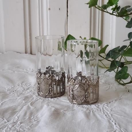 リボンと薔薇のガーランドのリキュールグラス