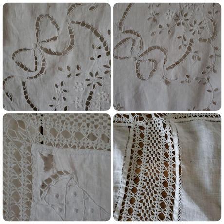 カットワーク刺繍とクロッシェレースのテーブルクロス