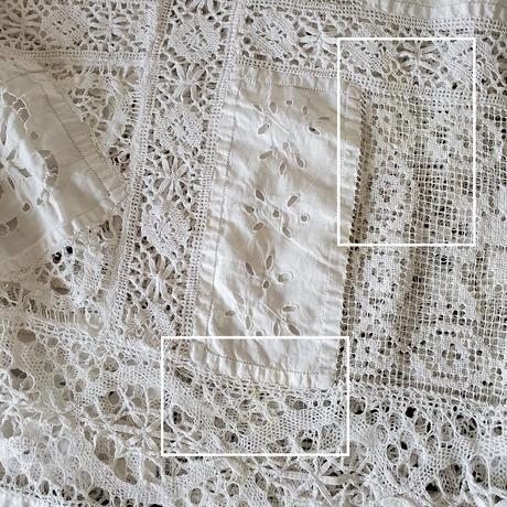 カットワーク手刺繍&リネンフィレレース