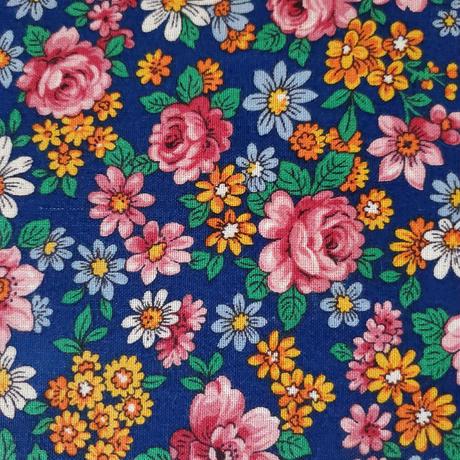 花柄カルトナージュのお裁縫箱/紺