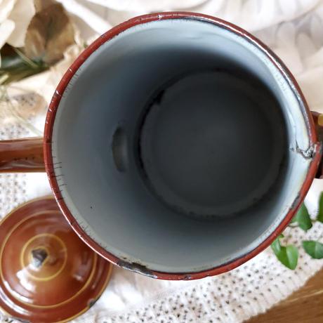 ピンクのローズ柄 ブラウンのコーヒーポット