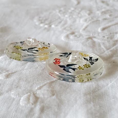 つばめモチーフのガラスボタン2個セット