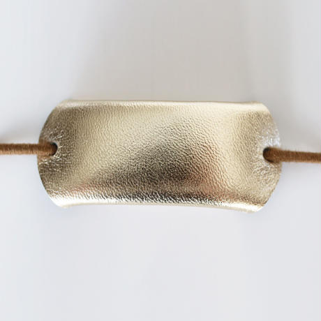革のヘアゴム(プラチナ)