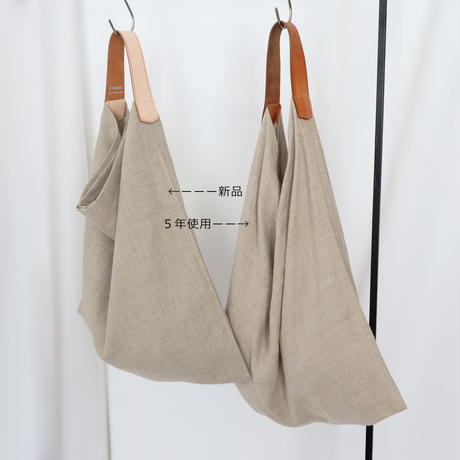 リネンとレザーのワンベルトバッグ(M・ナチュラル)