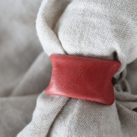 革のヘアゴム(ダークオレンジ)