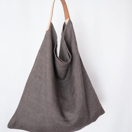 リネンとレザーのワンベルトバッグ(M・チャコールグレイ)