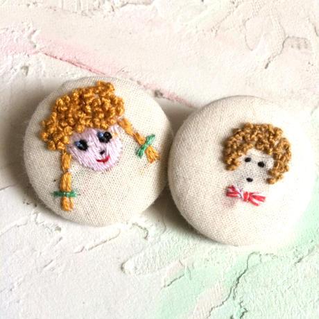 刺繍ボタン♡ アンナとベイビー2つセット