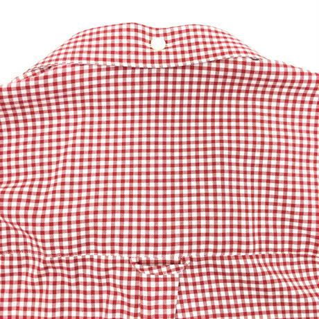 OPEN COLLAR GINGHAM CHECK BD SHIRT   (RED)